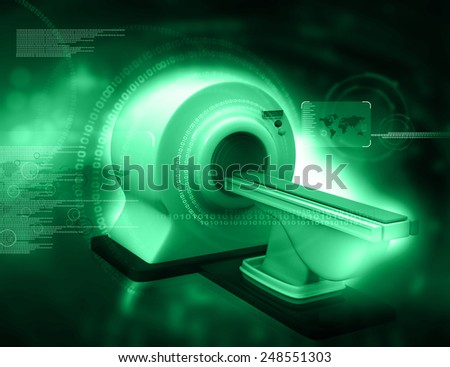 3d render of CT Scanner on digital background  - stock photo