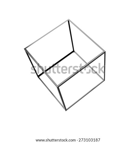 3d render of 3d cube isolated on white - stock photo