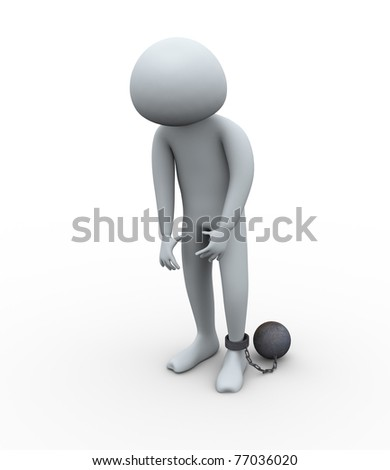 3d render of despair and sad  prisoner tied with iron ball - stock photo