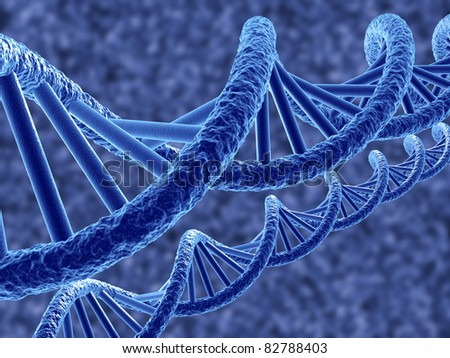 3d render of dna on blue background - stock photo