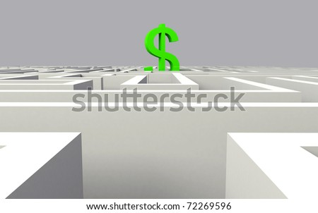3d render of dollar in the middle of a maze - stock photo
