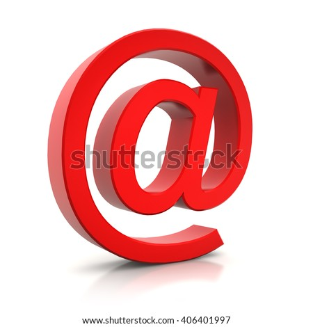 3d render of e-mail sign in red over white background - stock photo