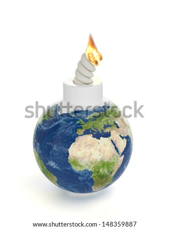 3d render of Earth planet bomb - stock photo