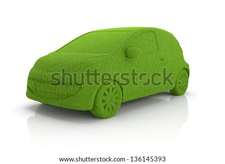 3d render of eco grass car isolated on whute background - stock photo
