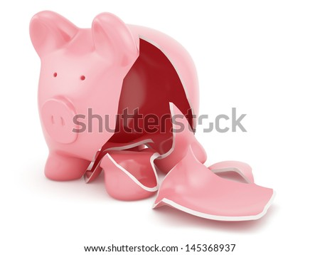 3d render of empty broken piggy bank - stock photo