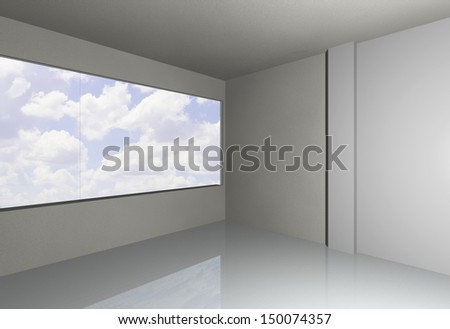 3D render of empty room with sky - stock photo