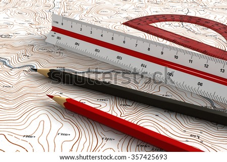 3d render of engineering tools over topographic map - stock photo