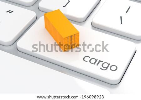 3d render of Enter button with cargo container. Cargo shipping concept - stock photo