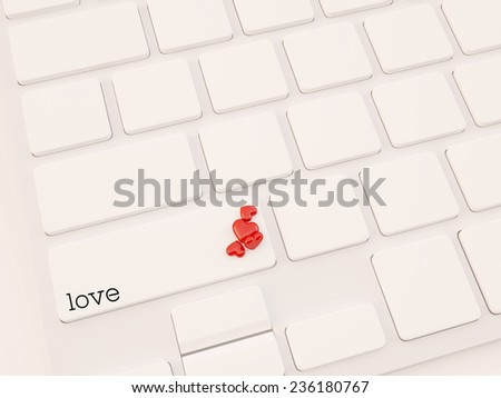 3d render of Enter button with red heart. Love concept - stock photo