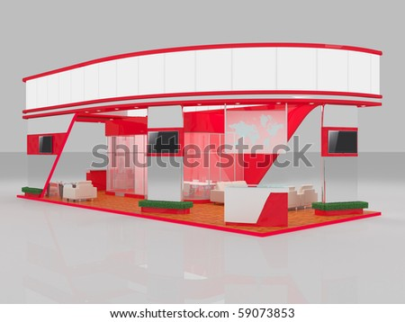 3d render of exhibition stand - stock photo