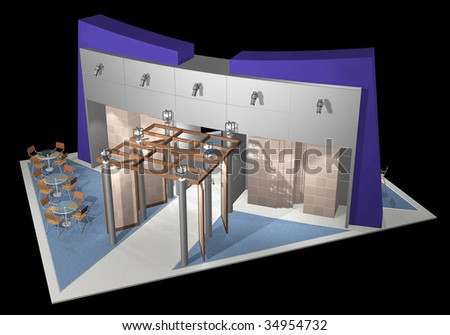 3d render of exhibition stands - stock photo