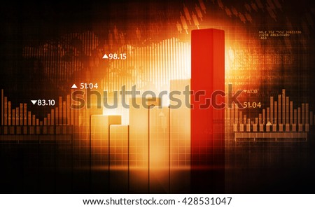 3d render of Financial charts and graphs - stock photo