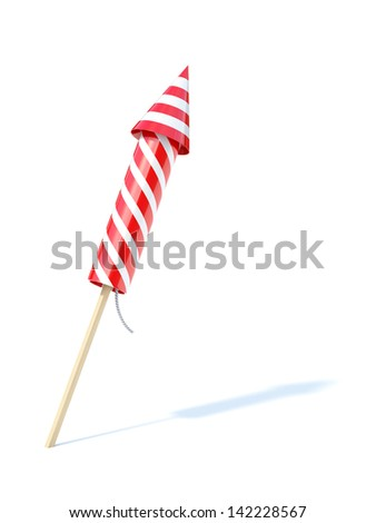 3d render of firework rocket isolated on white background - stock photo