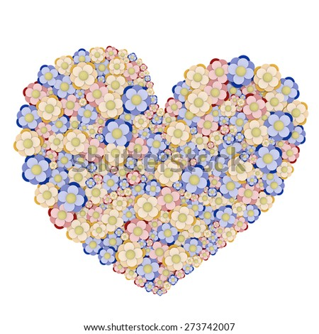 3D render of floral heart in pastel colours, created with Blender, isolated on a white background. Ideal for mother's day, valentine or new baby greeting cards. - stock photo