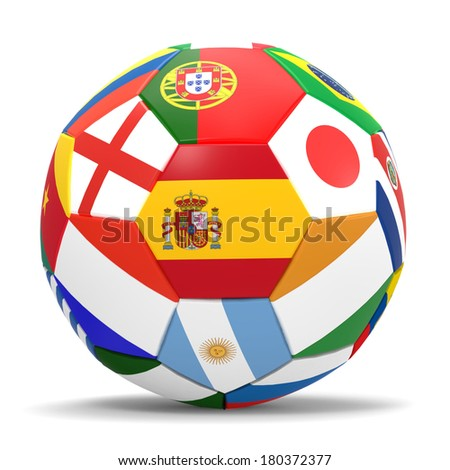 3D render of football with drop shadow and flags representing all countries participating in football world cup in Brazil in 2014  - stock photo