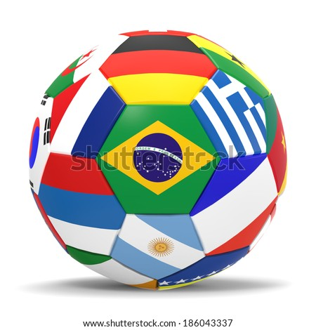 3D render of football with international flags surrounding the Brazilian flag with drop shadow. - stock photo