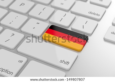 3d render of german flag button with soft focus - stock photo