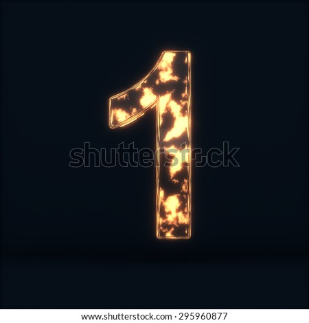 3d render of glass glowing fire digit one symbol - 1 on the dark background - stock photo