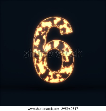 3d render of glass glowing fire digit six symbol - 6 on the dark background - stock photo