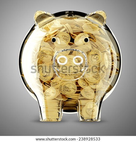 3d render of glass piggy bank full - stock photo