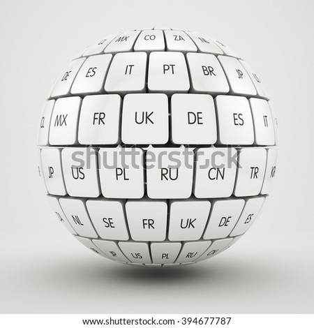 3d render of global internet translate different languages and communication creative internet PC technology computer concept. View of group translation cubes in the sphere shape - stock photo