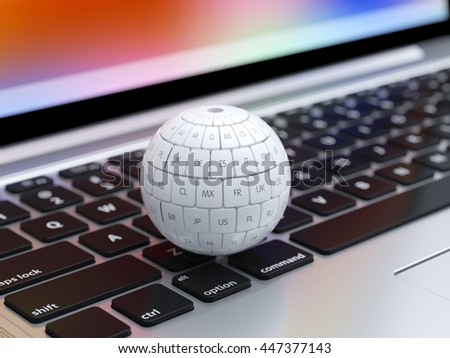 3d render of global internet translate different languages and communication creative internet PC technology. View of group translation cubes in the sphere shape on the computer keyboard - stock photo