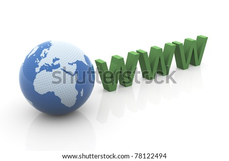 3d render of globe and www text - stock photo