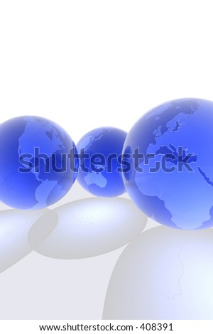 3d render of globes. - stock photo