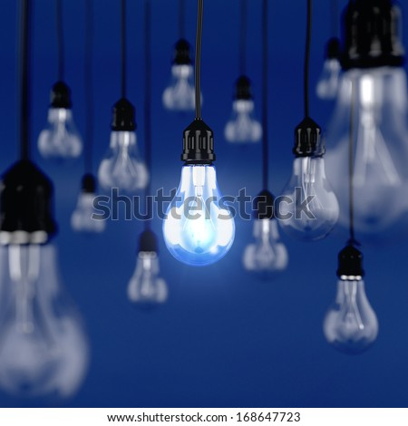 3d render of glowing light bulb. Ideas concept - stock photo