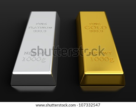 3d render of gold and platinum ingots isolated on black background - stock photo