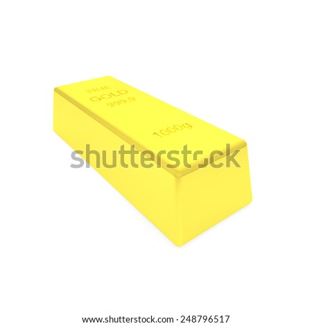 3d render of gold bar - stock photo