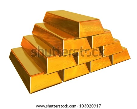 3d render of gold bars - stock photo