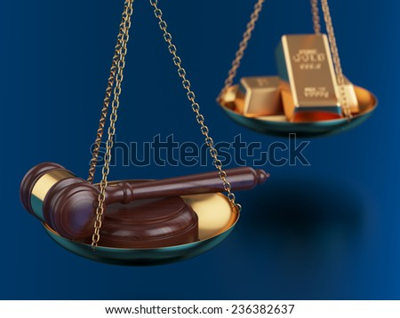 3d render of gold bars with wooden gavel on the scales - stock photo