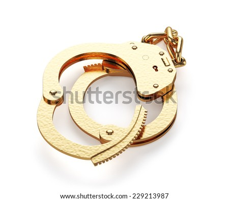 3d render of gold handcuffs isolated on white background - stock photo