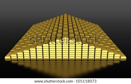 3d render of gold ingots pyramid on black background - stock photo