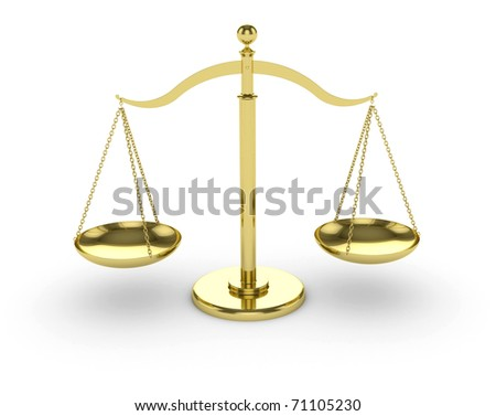 3d render of gold scales on white background - stock photo