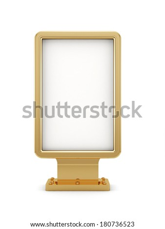 3d render of golden advertisement board isolated on white background - stock photo
