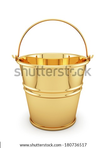 3d render of golden bucket isolated on white background - stock photo