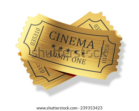 3d render of golden cinema tickets with shadow isolated on white background - stock photo