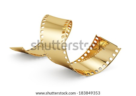 3d render of golden film strip isolated on white background. Entertainment concept - stock photo