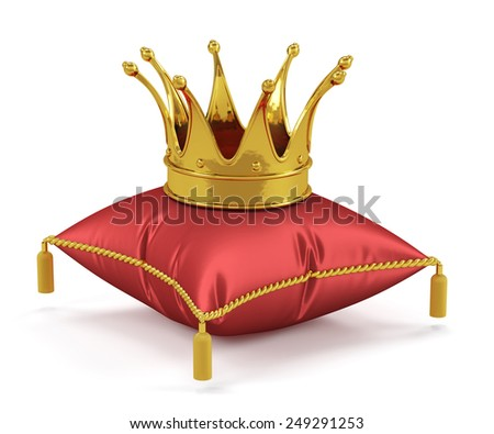 3d render of golden king crown on the red pillow - stock photo