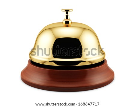 3d render of golden reception bell isolated on white background. Service concept - stock photo