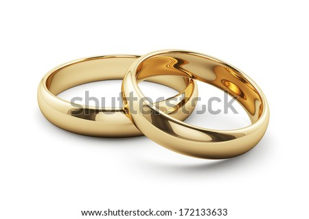 3d render of golden rings isolated on white background - stock photo