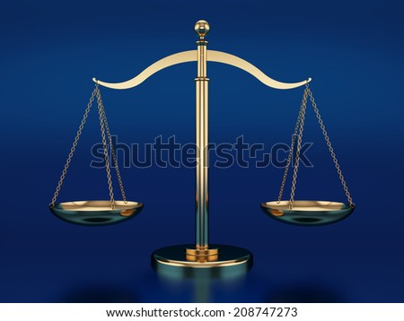 3d render of golden scales on the blue reflective background - stock photo