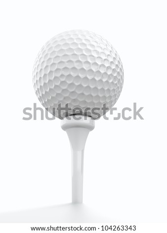 3d render of golf ball on white background - stock photo