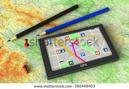3d render of GPS navigation device on map background - stock photo
