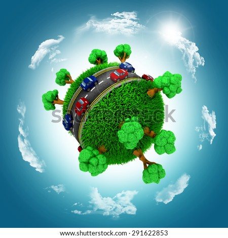 3D render of grassy globe with cars and trees against a blue cloudy sky - stock photo