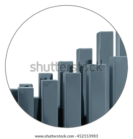 3d render of gray plastic blocks isolated on white, abstract business background in circle - stock photo