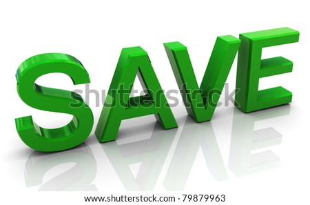 3d render of green highly reflective text 'save' - stock photo