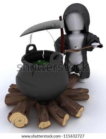 3D render of grim reaper with cauldron of eyeballs on log fire - stock photo